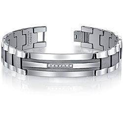 Men's Tungsten Stainless Steel 1/5ct TDW Diamond ID Bracelet