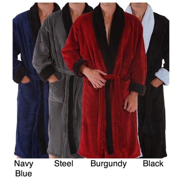 Alexander Del Rossa Men's Water Absorbent Fleece Bath Robe
