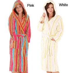 Alexander Del Rossa Women's Fleece Candy Striped Bathrobe