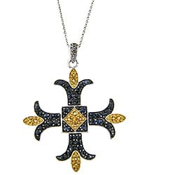 Dolce Giavonna Sterling Silver Citrine/ Sapphire/ Diamond Cross Necklace