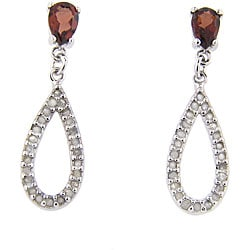 Dolce Giavonna Sterling Silver 1/2ct TDW Diamond and Garnet Earrings (J-K, I-3)