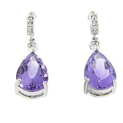 Dolce Giavonna Sterling Silver Amethyst and 1/10ct TDW Diamond Earrings