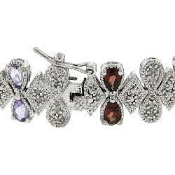 Dolce Giavonna Silver Multi-gemstone and 1/2ct TDW Diamond Bracelet (J-K, I3)