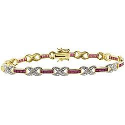 Dolce Giavonna Sterling Silver Ruby and Diamond 'X' Bracelet