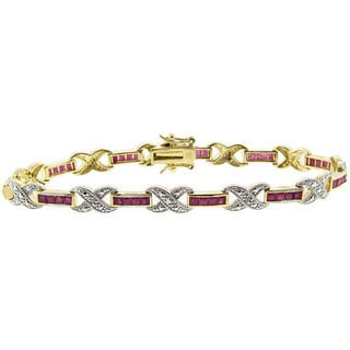 Dolce Giavonna Sterling Silver Ruby and Diamond 'X' Bracelet