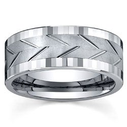 Men's Tungsten Polished/ Brushed Spinner Band (9 mm)