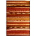 Hand-woven Sindhi Rust Jute Rug (5' x 8')