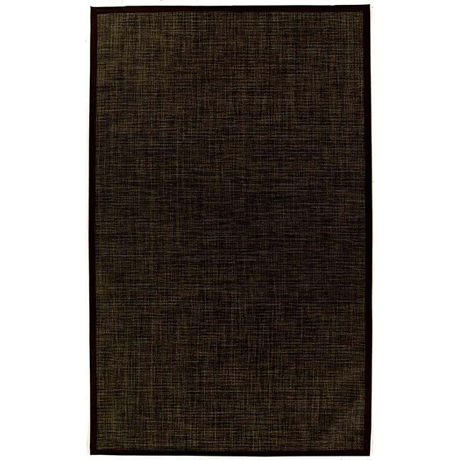 PVC Outdoor Black/ Brown Rug (6' x 9')