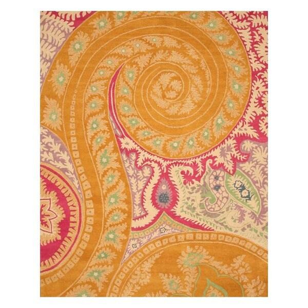 EORC Hand-tufted Wool Orange Paisley Rug (7'9 x 9'9)