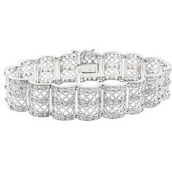 Finesque Sterling Silver 1ct TDW Diamond Lattice Design Bracelet (J-K, I3)