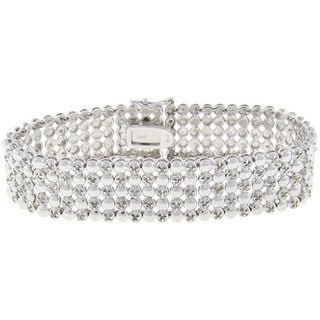 Finesque Sterling Silver 1ct TDW Diamond Five-row Bracelet (J-K, I3)