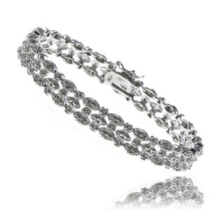 Finesque Sterling Silver 1ct TDW Diamond Marquise Bracelet (J-K, I3)