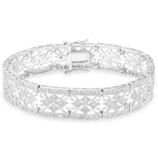 Finesque Sterling Silver 1ct TDW Diamond Vintage Bracelet