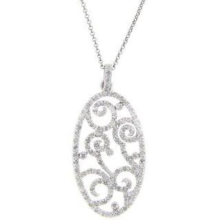 Finesque Sterling Silver 1/2ct TDW Diamond Filigree Necklace (J-K, I3)
