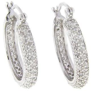 Finesque Sterling Silver 1/2ct TDW Diamond Hoop Earrings (J-K, I3)