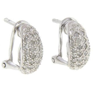 Finesque Sterling Silver 1/2ct TDW Diamond Hoop Earrings (J-K, I3)