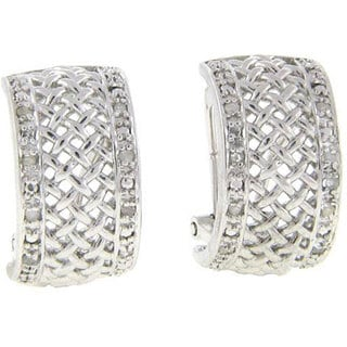 Finesque Sterling Silver 1/2ct TDW Diamond Lattice Earrings (J-K, I3)