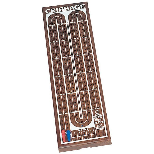Classic Two-track Premium Cribbage Board with Plastic Cribbage Pegs