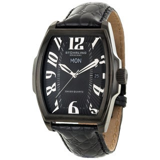 Stuhrling Original Men's Waldorf Swiss Quartz Black Watch