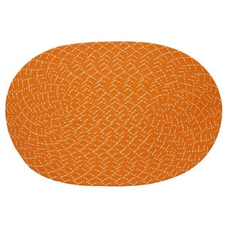 Indoor/ Outdoor Colorful Orange Braided Rug (8' x 11')