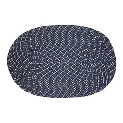 Indoor/ Outdoor Colorful Dark Blue Braided Rug (3'6x5'6)