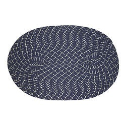 Indoor/ Outdoor Colorful Dark Blue Braided Rug (8' Round)