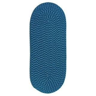 Sun Splash Indoor/ Outdoor Dark Blue Braided Rug (2' x 5')