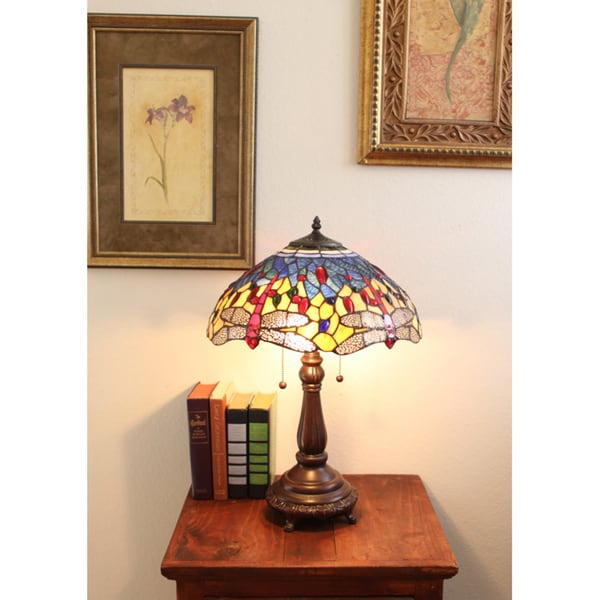 Tiffany-style Red Dragonfly Table Lamp