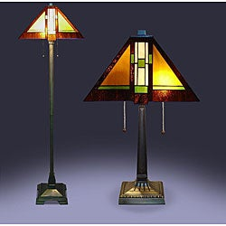 Tiffany-style Aztec Mission Lamps (Set of 2)