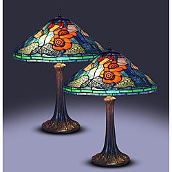 Tiffany-style Water Lily Table Lamps (Set of 2)