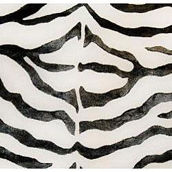 nuLOOM Handmade Zebra Black Wool/ Faux Silk Highlights Rug (6' Round)