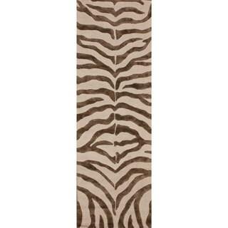 nuLOOM Handmade Zebra Brown Wool/ Faux Silk Highlights Rug (2'3 x 8')