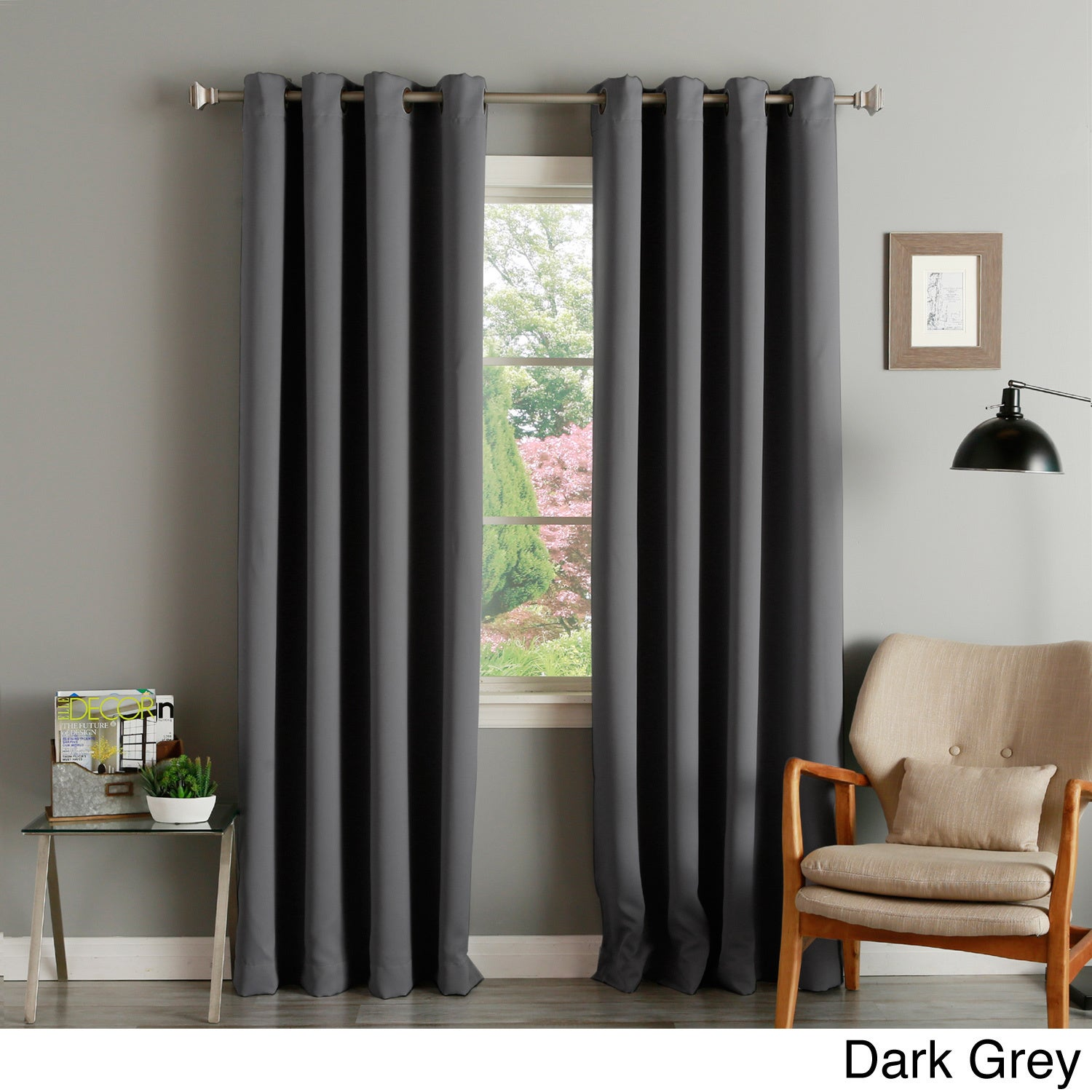 Thermal Insulated Blackout Grommet Top 84-inch Curtain Panel Pair ...