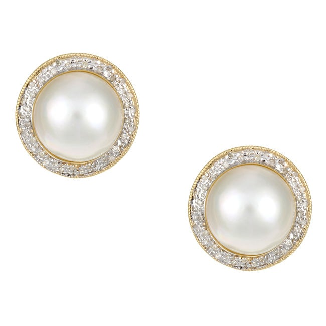 Kabella 14k Yellow Gold Mabe Pearl and 3/8ct TDW Diamond Earrings (14 mm)