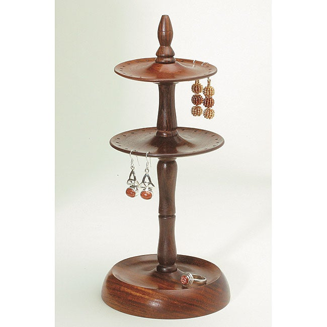 Wood Two-tier Earring Stand (India)