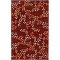 Hand-tufted Trailing Vines Red Floral Wool Rug (9' x 13')