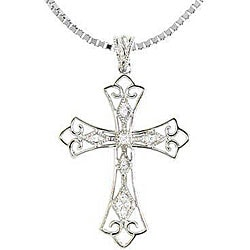 Sterling Silver 1/10ct TDW Diamond Vintage-style Cross Necklace