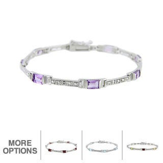 Glitzy Rocks Sterling Silver Gemstone and Diamond Accent Bracelet