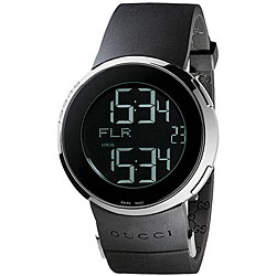 Gucci Men's Small Digital/ Analog Black Strap Watch
