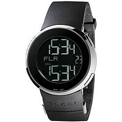 Gucci Men's Small Digital/ Analog Black Strap Watch