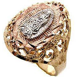 14k Goldplated Filigree Virgin Mary Ring (Mexico)