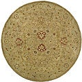 Handmade Majesty Light Brown/ Beige Wool Rug (3'6 Round)