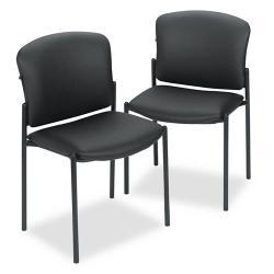 HON Pagoda 4070 Series Stacking Chair, Black Vinyl (Pack of 2)