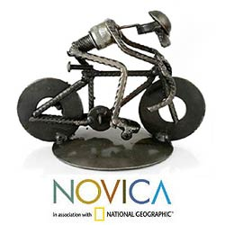Recycled Metal 'Rustic Cyclist' Iron Sculpture (Mexico)