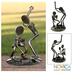 Recycled Metal 'Rustic Baseball Players' Iron Sculpture (Mexico)