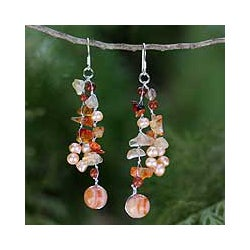 Pearl and Carnelian 'Sun Dancer' Cluster Earrings (Thailand)