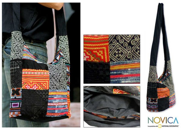 'Hmong Colors' Cotton Sling Tote Bag (Thailand)