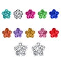 Sterling Silver Ferido Crystal Flower Stud Earrings