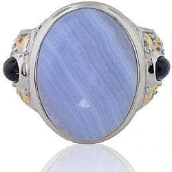Michael Valitutti Silver/ Palladium/ 18k Vermeil Lace Agate/ Sapphire Ring