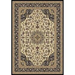 Anoosha Kashan Ivory/ Black Rug (2' x 3'5)